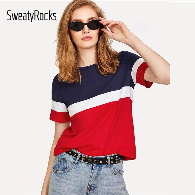 SweatyRocks kolor bloku Tee 2018 lato New Arrival wokół szyi koszulka z krótkim rękawem kobiety Multicolor Athleisure top na co dzień
