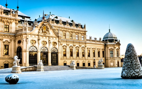 Austria Vienna Wien Belvedere Palace architecture snow winter 4 Sizes Home Decoration Canvas  Poster Print