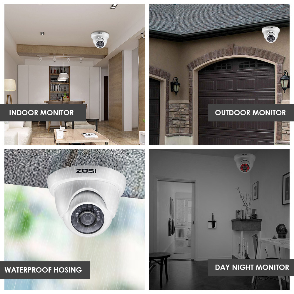 ZOSI 4CH FULL 1080P HD Video Security System with 4x 2.0MP 1080P Weatherproof Dome Surveillance Cameras Kit