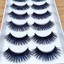 Color Black + Blue False Eyelashes Smoked Stage Makeup Tools Long Fake Eye Lashes Natural Thick False Eye Lashes 1 box 6Pairs 3