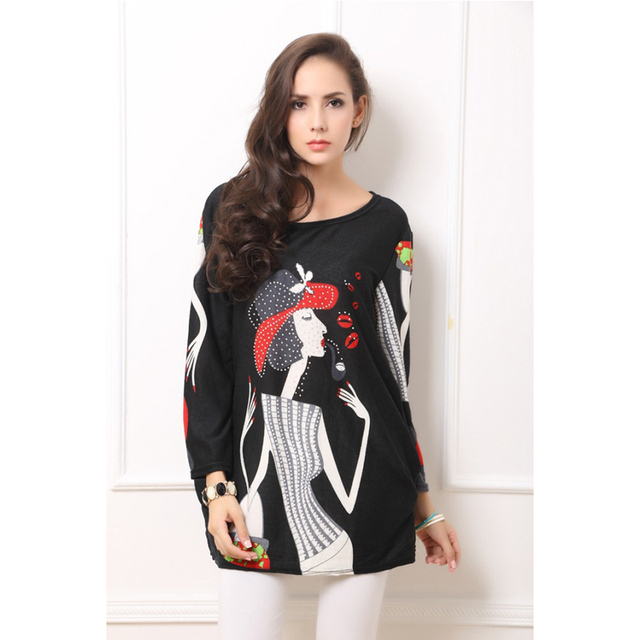 autumn winter embroidery shirts blouse pipe girl print korean long
