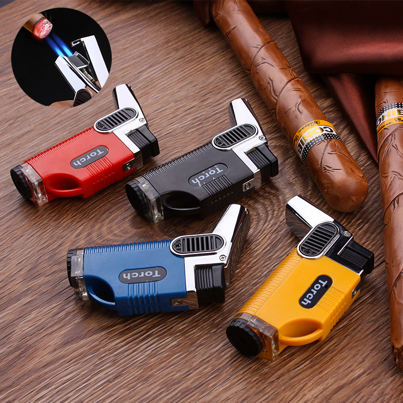 Elbow Double Fire Inflatable Metal Windproof Gas Lighter Cigar High Temperature Spray Gun Welding Torch Blue Flame