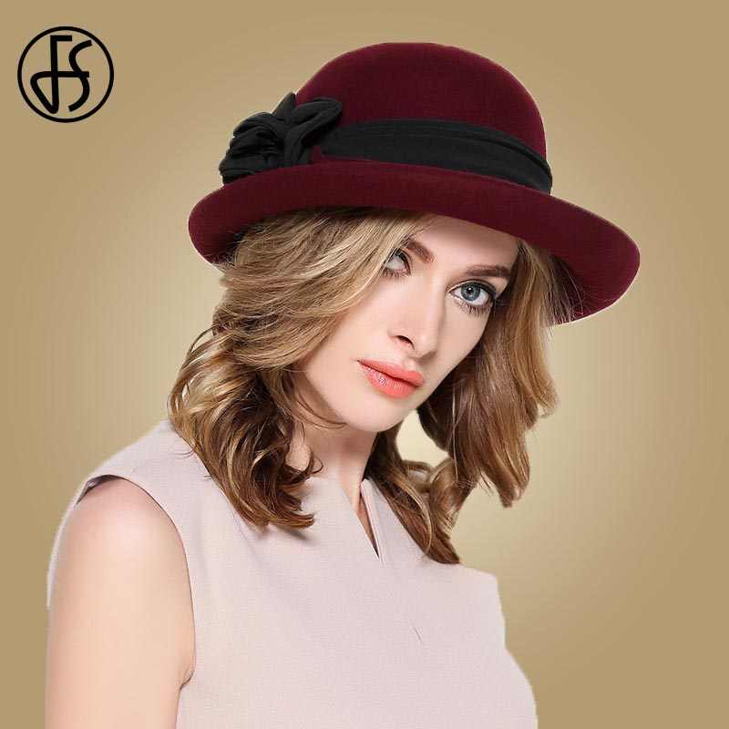 b6d318ffc9a153 FS Black Wine Red Wide Brim Fedora Hats Women Wool Felt Church Hat Ladies  Winter Elegant
