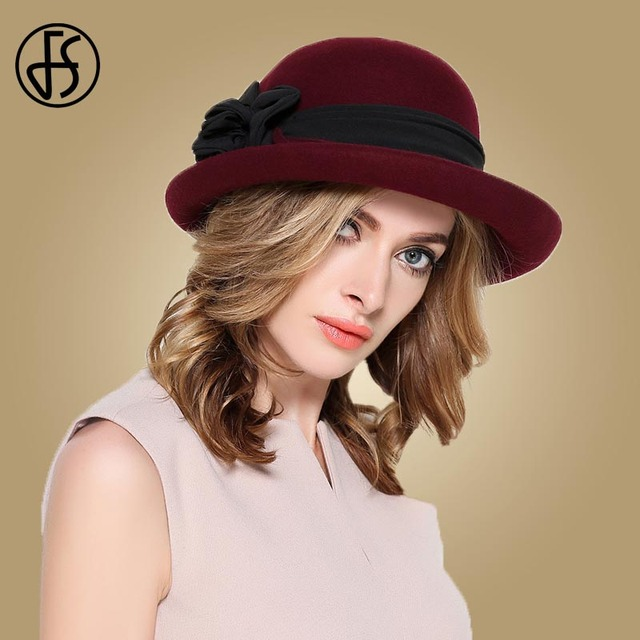 56ac7489b7dec9 FS Black Wine Red Wide Brim Fedora Hats Women Wool Felt Church Hat Ladies  Winter Elegant Floppy Flowers Cloche Fedoras