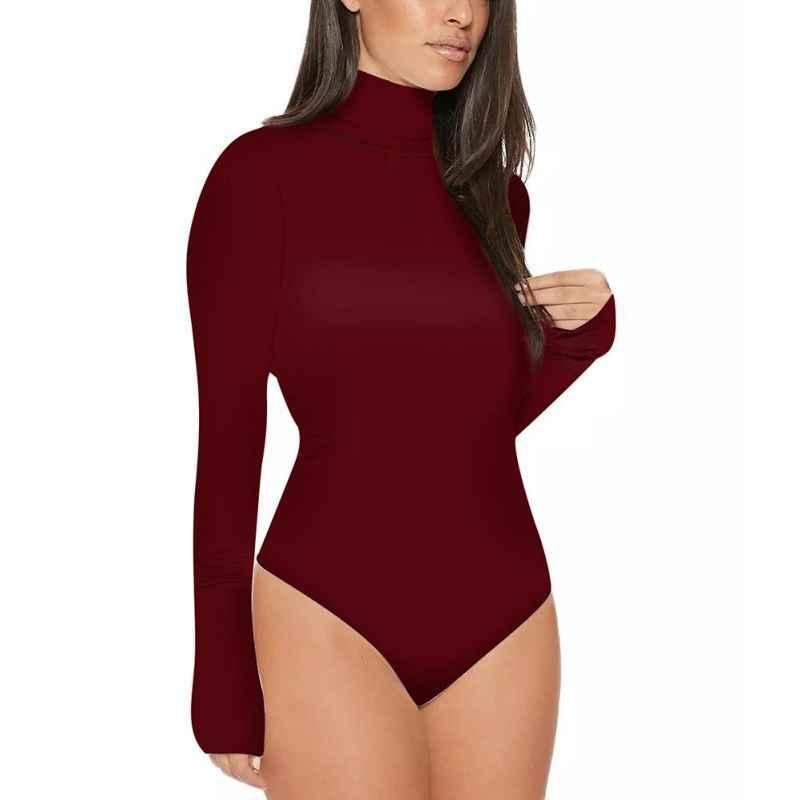 جديد مثير المرأة بذلة داخلية السيدات السلاحف الرقبة ارتداءها رومبير طويلة الأكمام يوتار قمم الملابس