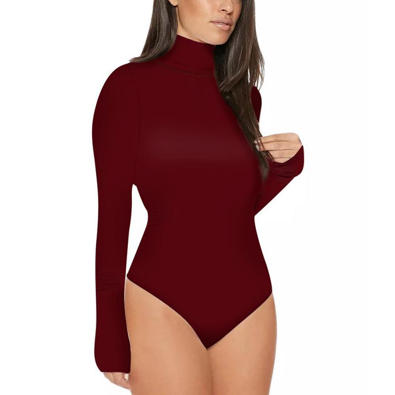 New Sexy Women   Jumpsuit   Bodysuits Ladies Turtle Neck Bodysuit Romper Long Sleeve Leotard Tops Clothes