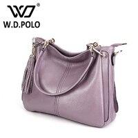Wdpolo新しい本革女性のハンドバッグ高容量レディートートバッグスーパーシックな女性ショル