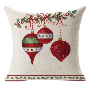 Natale Lino Piazza Coperte e Plaid Lino Coperture per Cuscini Cuscino Decorativo Copertura del Cuscino Cuscino natalizio 33