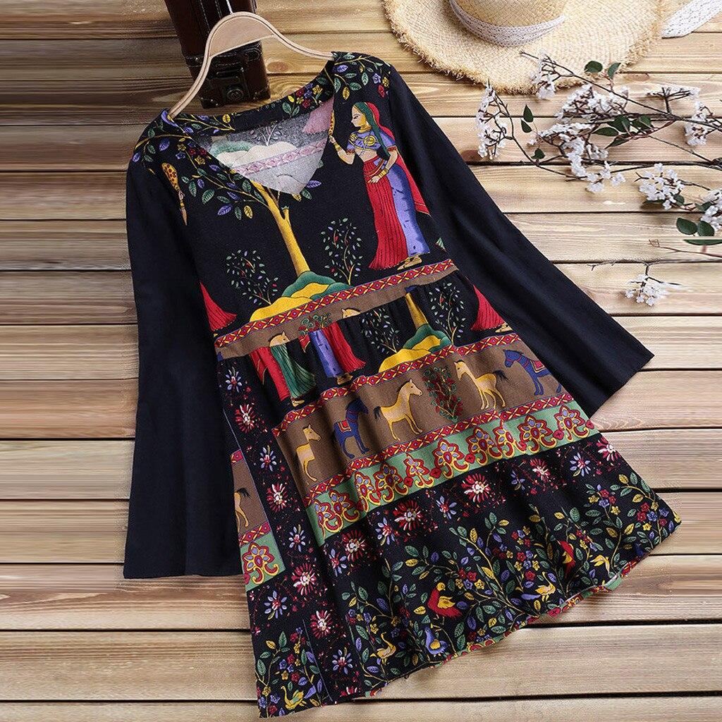 Boho Women Casual Blouses Shirts Ladies National S