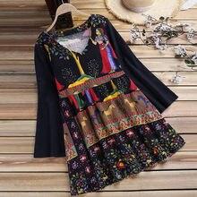 cceb8e756d Feitong Boho kobiety codzienne bluzki koszule damskie styl narodowy luźne  bawełniane lniane długi topy blusas mujer