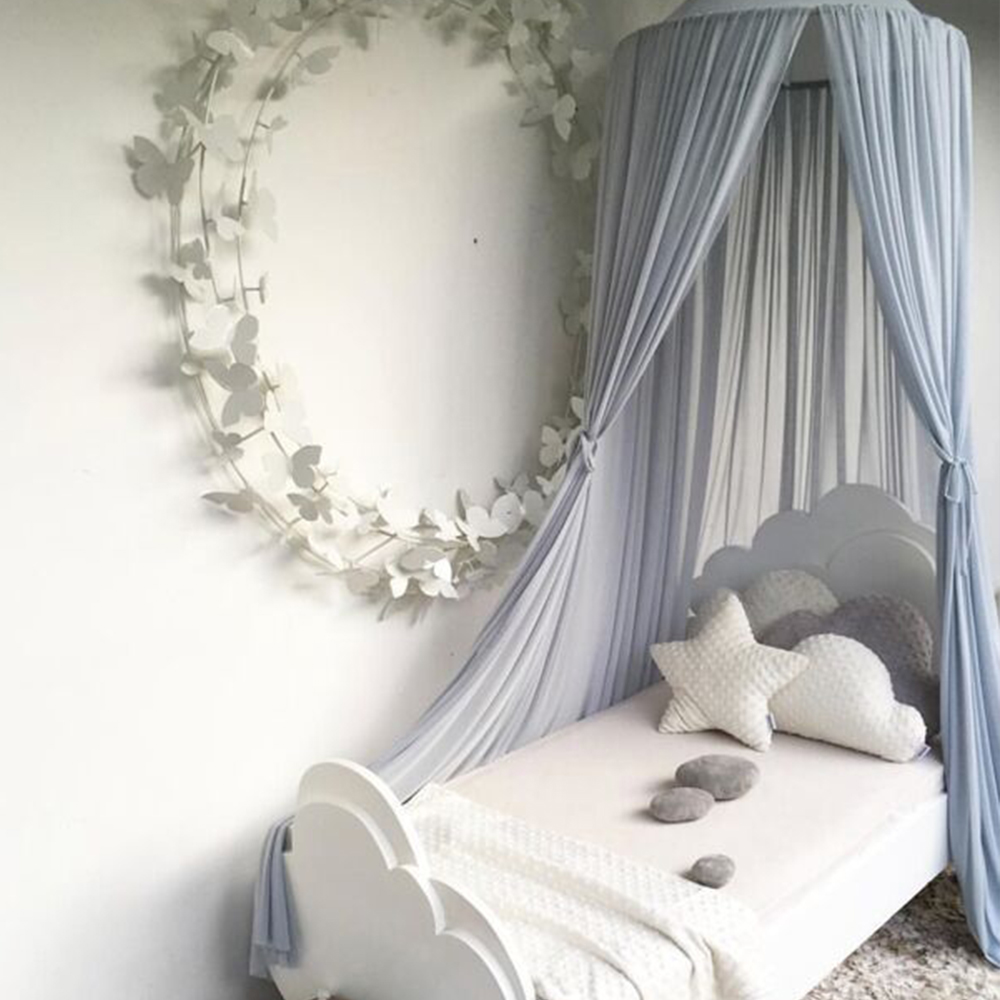 Soft House Hang Dome Play Tent Round Bed Canopy For Babies Crib Curtain Tipi Lace Tent Kids Room Net Curtain Cabana Decoration