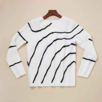2019 New Women White Striped Sweater Mohair Sweet Knitted Pullover Top