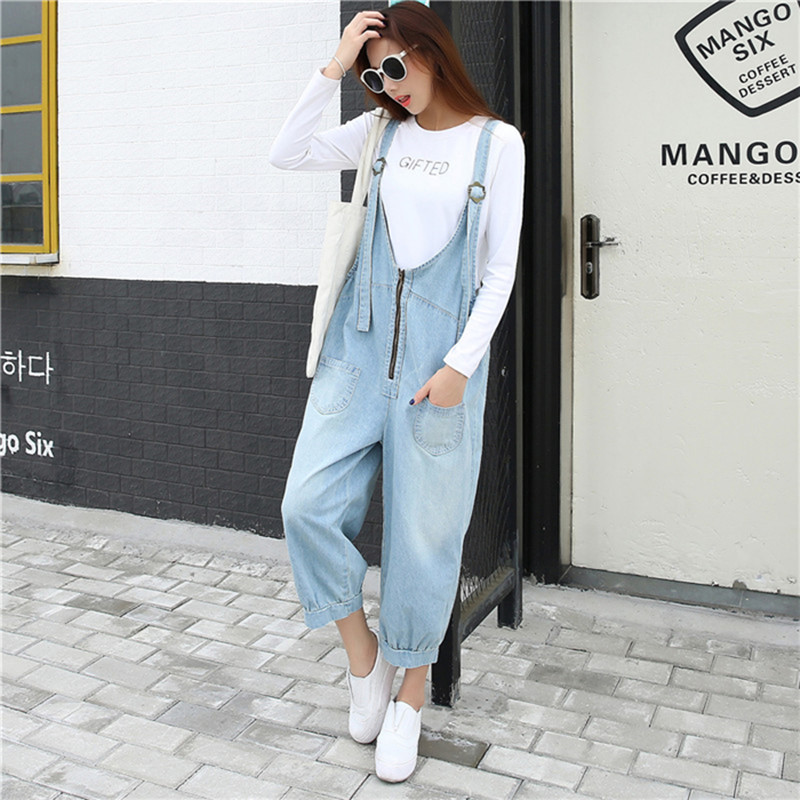 denim jumpsuits women bleached washed Jeans 2018 spring summer overalls korean fashion casual zip front calf-length pants