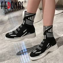 FEDONAS 2019 Neue Ankunft Frühling Herbst Mischfarben Frauen Socken Stiefel Fashion Slip-on Karree Plattformen Casual Stiefeletten stiefel(China)
