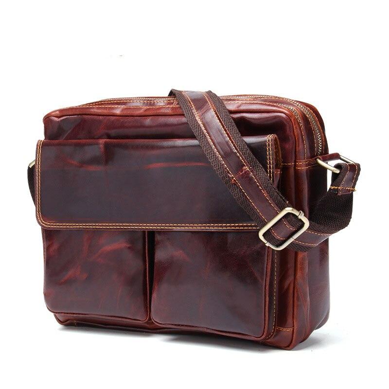 Vintage huile cire de vache en cuir véritable homme sac décontracté grande capacité affaires épaule Messenger sacoche en bandoulière