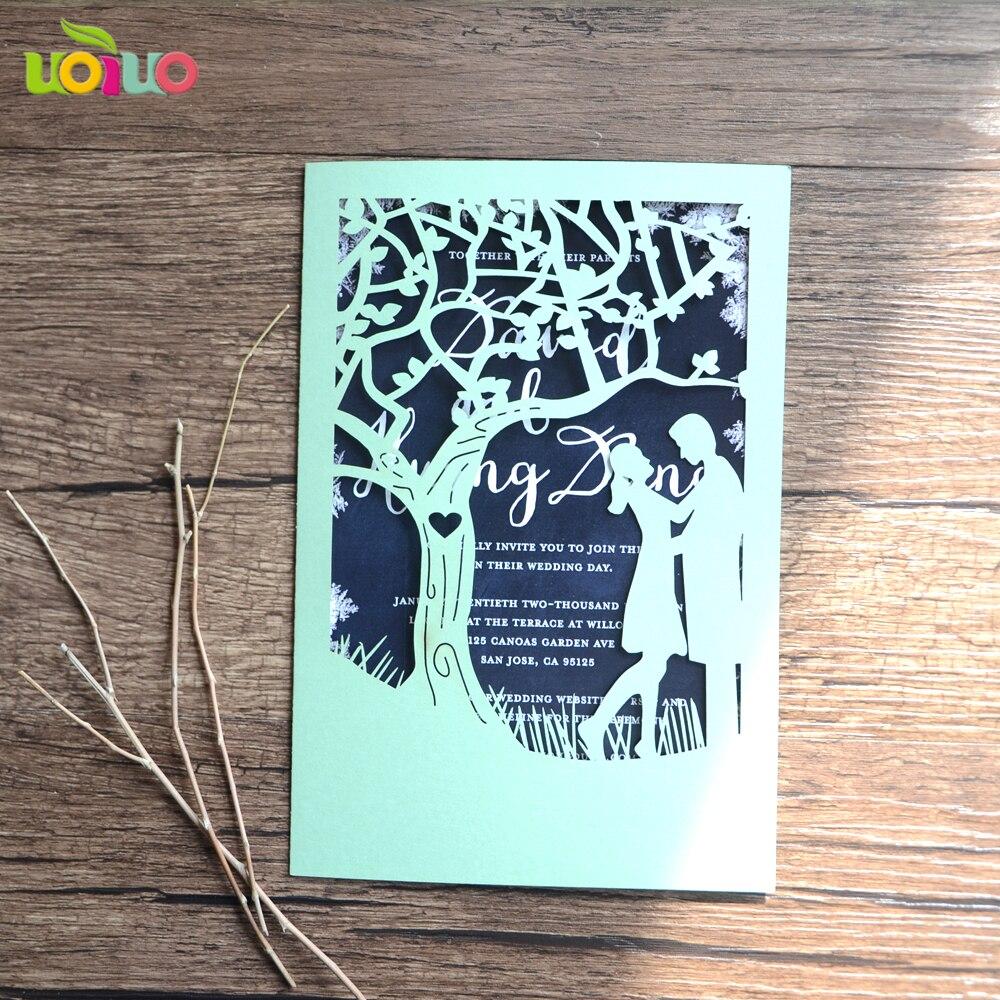 laser gravé bois couple mariage invitation mer Bois invitation cartes