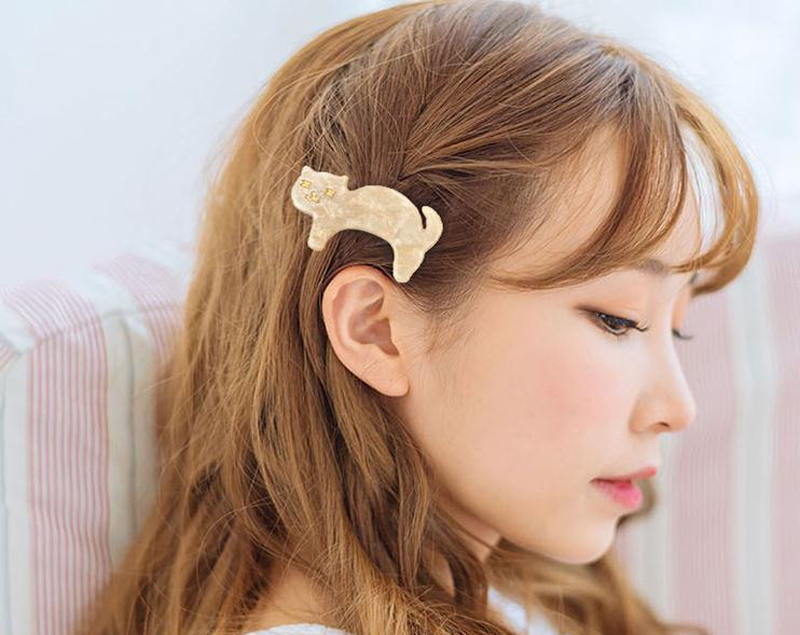 Women Cat Hair Accessories Solid Acrylic Hairpin