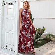 Simplee Halter backless summer dress women Hollow out sleeveless maxi dress Elegant high waist boho dress female vestidos 2018(China)