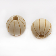 wholesale 16mm 100pcs hole:4mm Natural Wooden Watermelon stripes Beads Unfinished bead for necklace or bracelet making DI