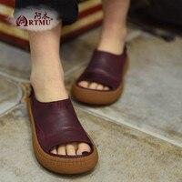2016 Vintage Open Toe Women Shoes Cow Muscle Sandals Comfortable Low Heels Casual Handsome Women S