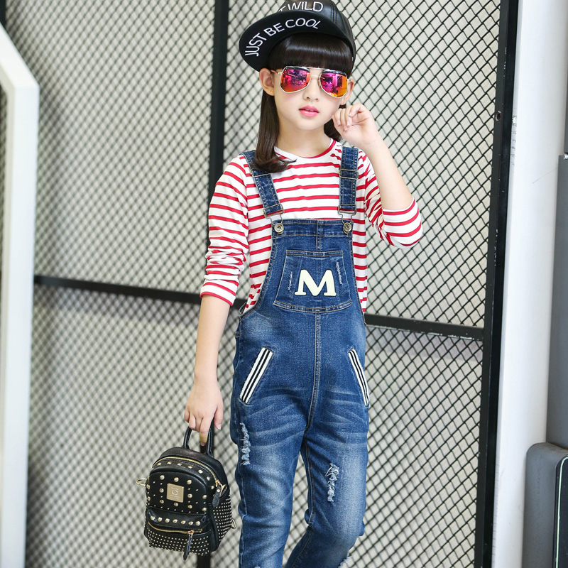 2017 Autumn Girls Infant Jeans Overalls Pattern Denim Pocket Jumpsuit Bib Pants Children's Jeans Clothes Baby Kids Overalls boyfriend jeans men s ripped jeans casual front pocket blue denim overalls male suspenders bib jeans jumpsuit or05