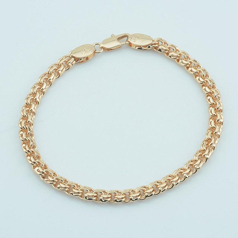 Gold Link Bracelet Womens: FJ 5mm 585 Gold Bracelet Double Curb Rolo Chains For Mens