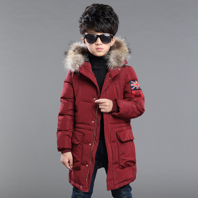 Winter Fur Hooded Jackets For Boys Cotton Padded Coats Thickeing Warm Children Parka Brand Patches Teenage Kids Outerwear 5-14Y