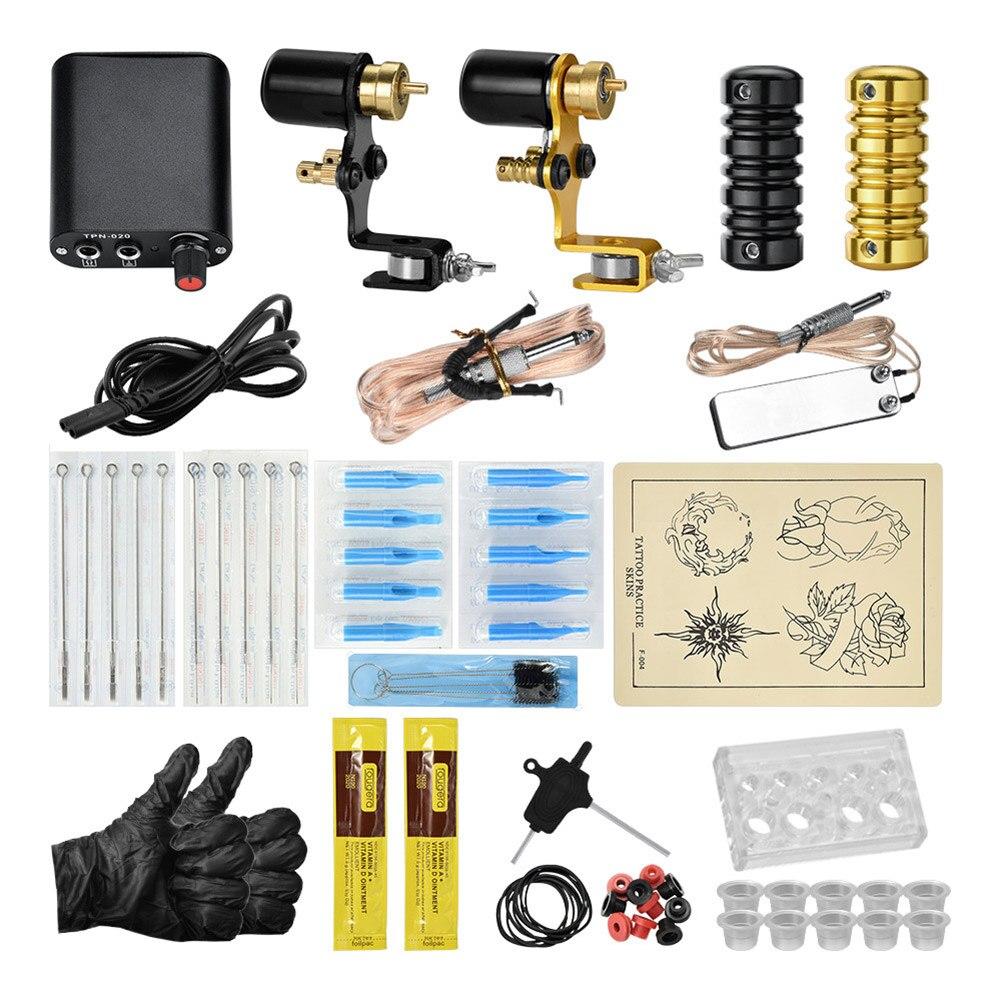 Livraison directe Kit de tatouage de corps professionnel Machines à moteur Set aiguilles d'alimentation fournitures de tatouage Permanent SMJ