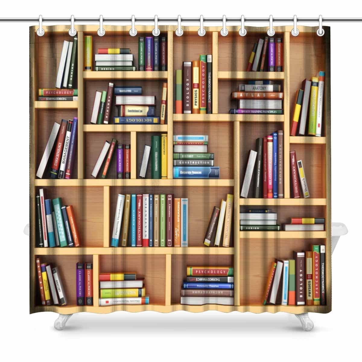 Bookshelf Waterproof Fabric Shower Curtain Hooks Bathroom Mat Home Decor