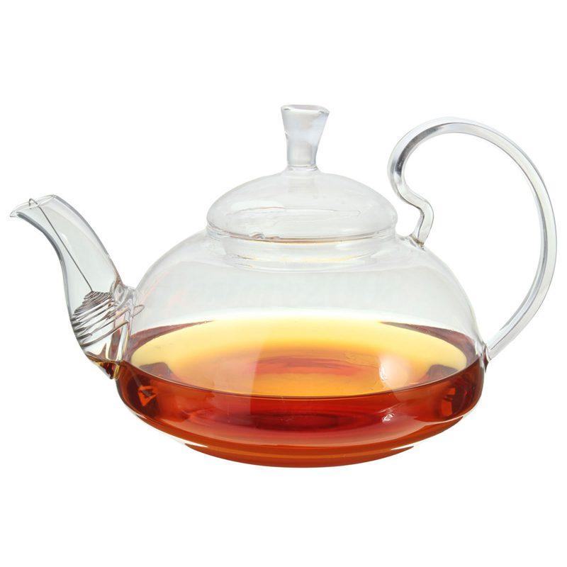 800ml Clear Glass Heat Resistant Teapot / Infuser Flower / Green Leaf Tea Pots