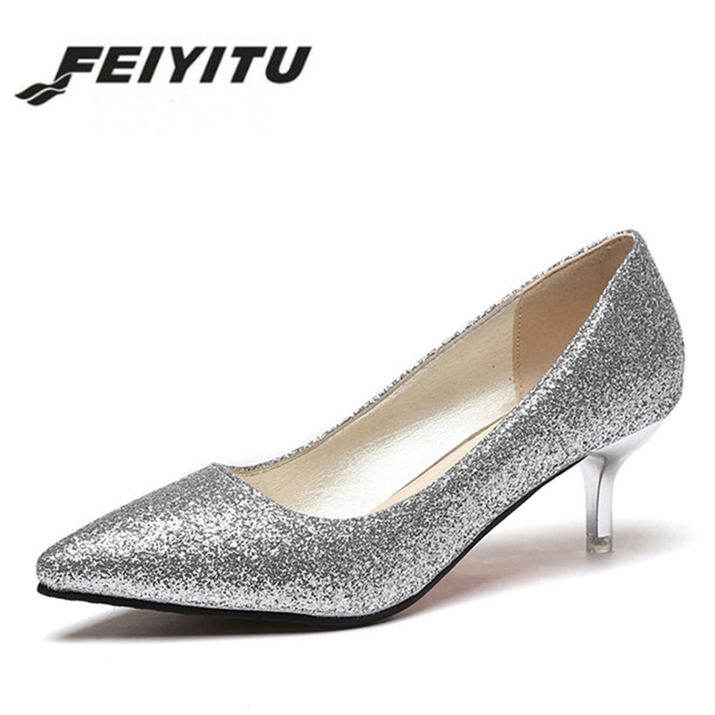 feiyitu Women Wedding Shoes Silver Gold Dress Shoes Pointed Toe Woman Sequined Cloth Med heels Shoes Glitter Pumps Boat Shoe shofoo newest women shoes med heels pointed toe pumps for woman dress