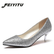 feiyitu  Women Wedding Shoes Silver Gold Dress Pointed Toe Woman Sequined Cloth Med heels Glitter Pumps Boat Shoe