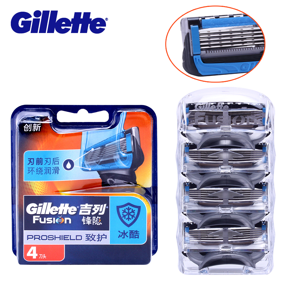Gillette Fusion Proshield Razor Blade For Men Shaver Blades With Cooling Beard Shaving Razors Blades 4Pcs Machine for Shaving gift set gillette fusion proshield chill machine with 1 interchangeable cassette 2 interchangeable cassettes shaving gel 2 i