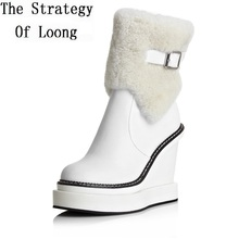 ФОТО women winter wedges platform side zipper genuine leather buckle round toe fashion warm ankle snow boots size 34-39 sxq0818