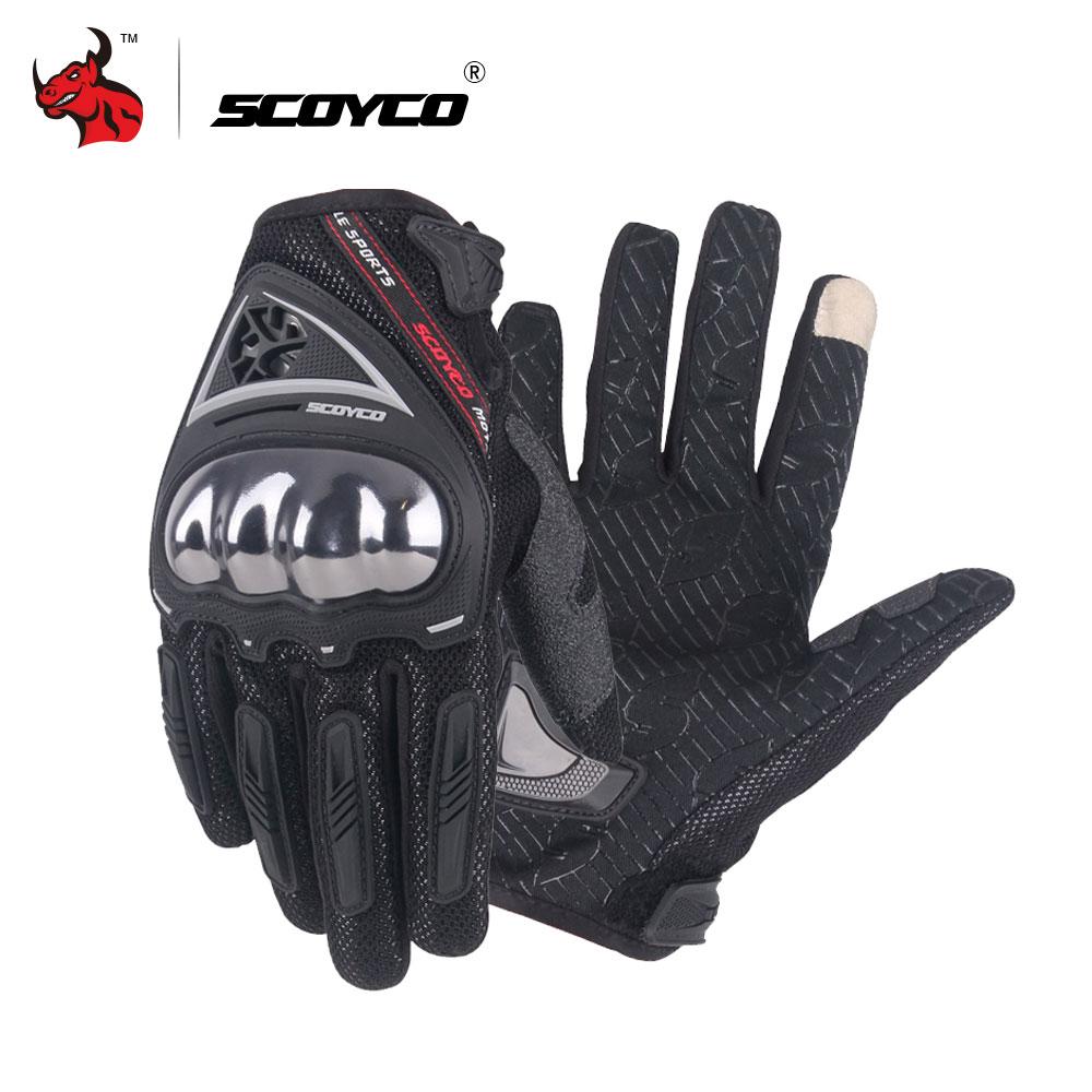 SCOYCO Men's Moto Gloves Motocross Off-Road Racing Gloves Luva Couro Motoqueiro Motorbike Full Finger Motocross Gloves