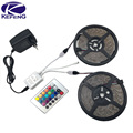 10m 5m RGB LED strip light 3528 5050 SMD diode ribbon led tape waterproof+RGB remote controller+DC 12V Adapter Power Supply