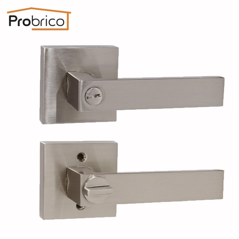 Probrico Stainless Steel Privacy Interior Door Lock Set Brushed Nickel Bathroom Door Handle Bedroom Square Door Knob Dl01snbk