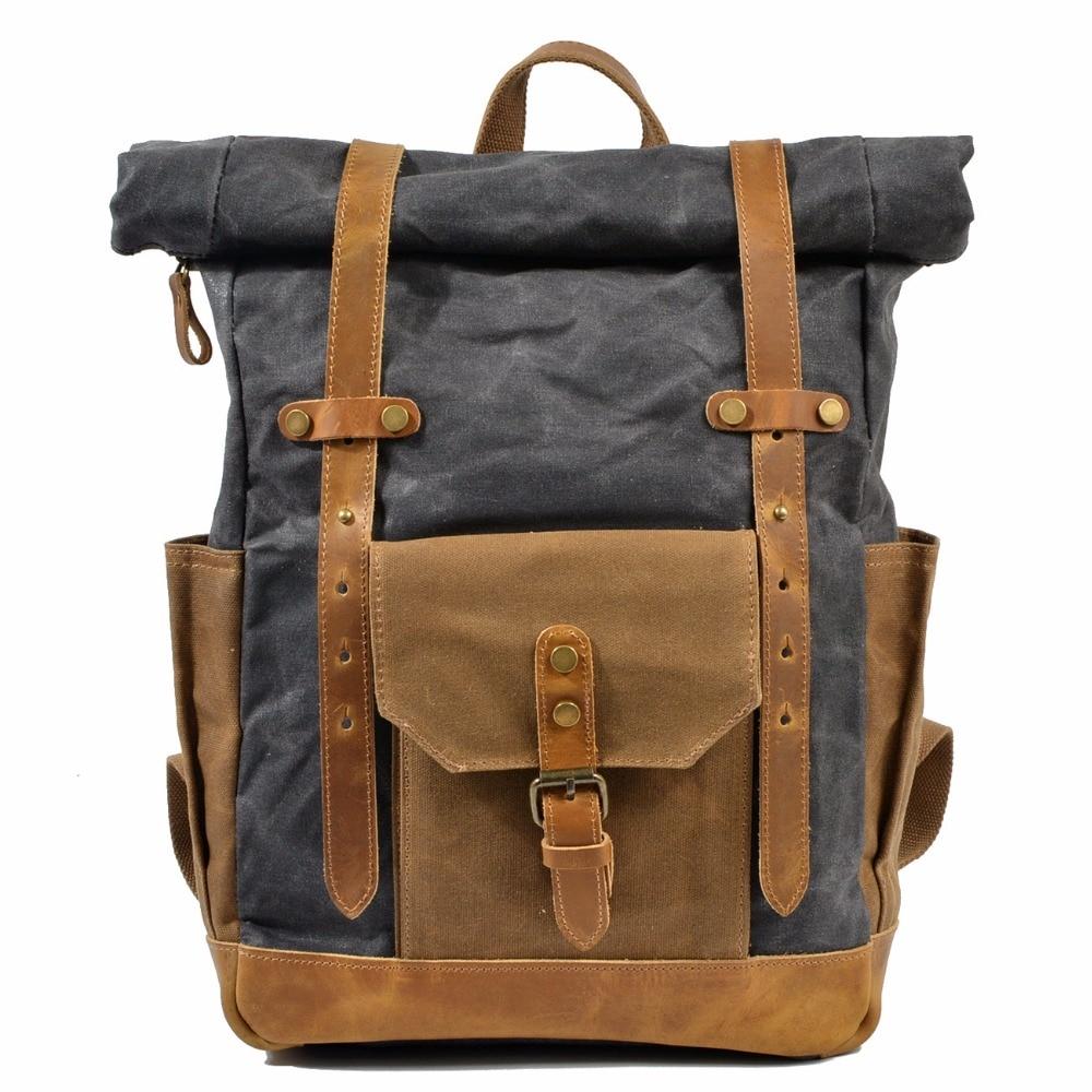M155 Fashion Backpack Leather Canvas Men Backpack School Bag Military Backpack Women Rucksack Male Knapsack Bagpack Mochila New