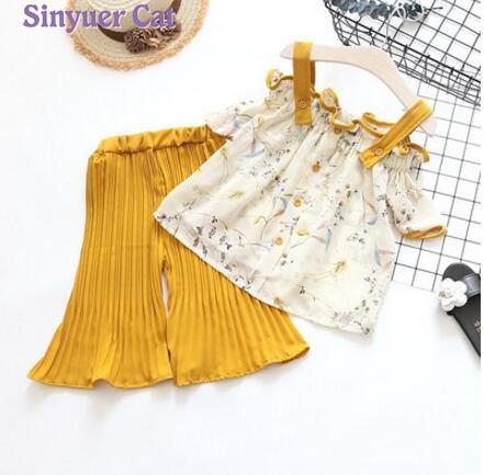 sinyuer cat Girls Sets Children Summer Clothing Sets Kids Clothes Chiffon T-Shirt + wide leg pants Summer beach Suit