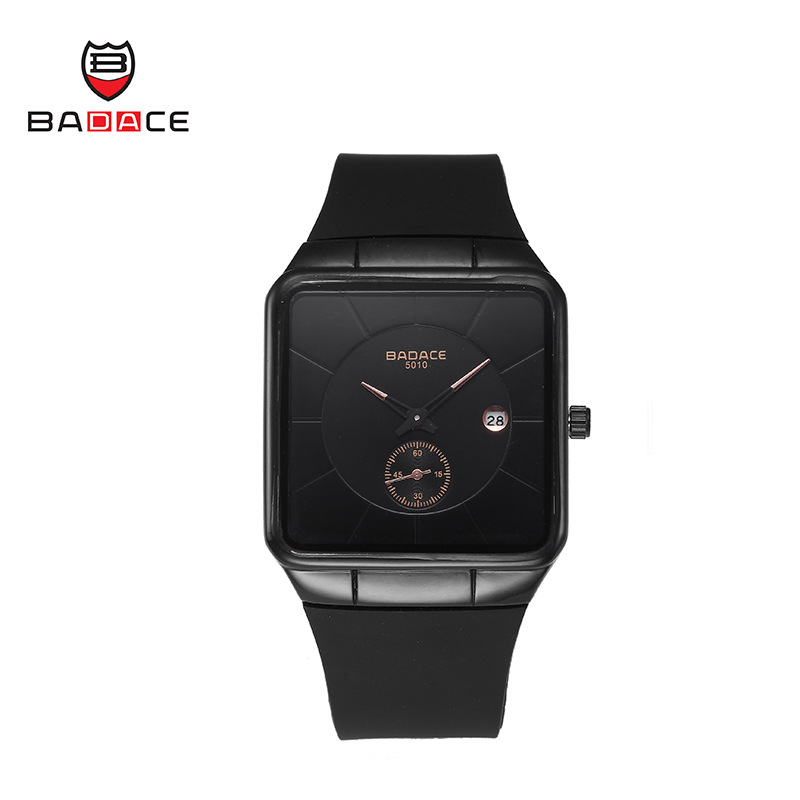 BADACE Top Brand Wrist Watch Men Durable Silicone Strape Square Sports Quartz-Watch Simple Leisure Clock Male Analog Black Watch fashion top gift item wood watches men s analog simple hand made wrist watch male sports quartz watch reloj de madera