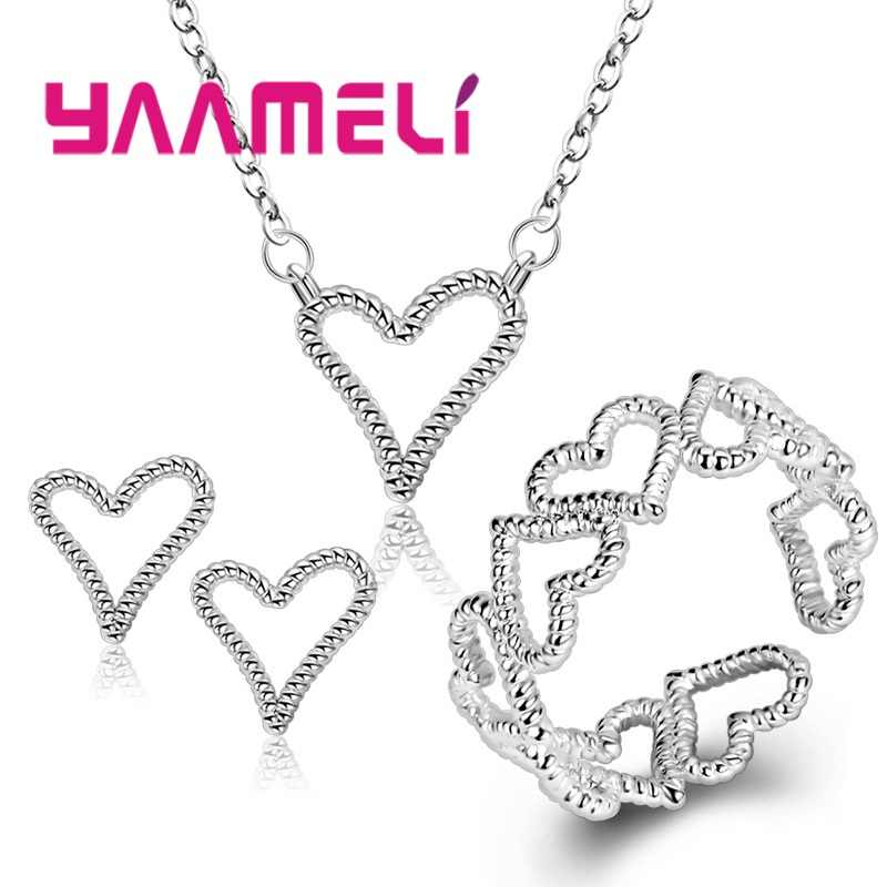 Vintage Charming Heart 925 Sterling Silver Jewelry Set Women Elegant Party Gift Fashion Pendant Necklace Stud Earrings Rings
