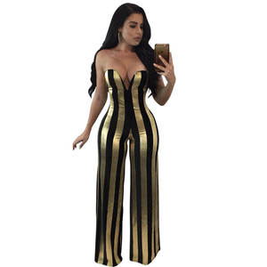 60148881148 2017 new Striped Womens Jumpsuit Rompers Sexy Strapless V Neck Elegant Wide  legs Jumpsuit Night Party Club Wear Female Overalls