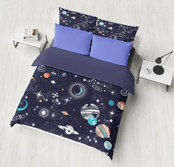 Space cosmos bedding sets deep blue comfortable bedroom soft home textile duvet cover quilt cover pillow cases bedclothes