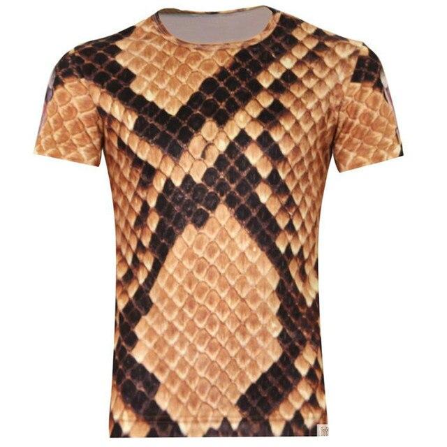 Animaux Super Cobra serpent peau motif deux côté impression homme à manches  courtes T-Shirt