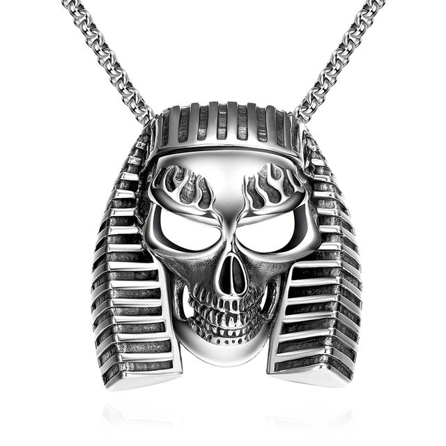 Hip Hop Rocha Prata Egito Antigo Aço Inoxidável Pingentes Declaração Jóias Finas Para Os Homens Da Forma Do Crânio de Cadeia Longa Colar Presente