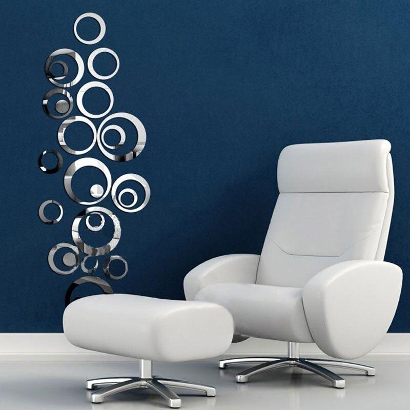 x espejo de pared calcomana crculos de reflexin home dormitorio decoracin de la sala de estar