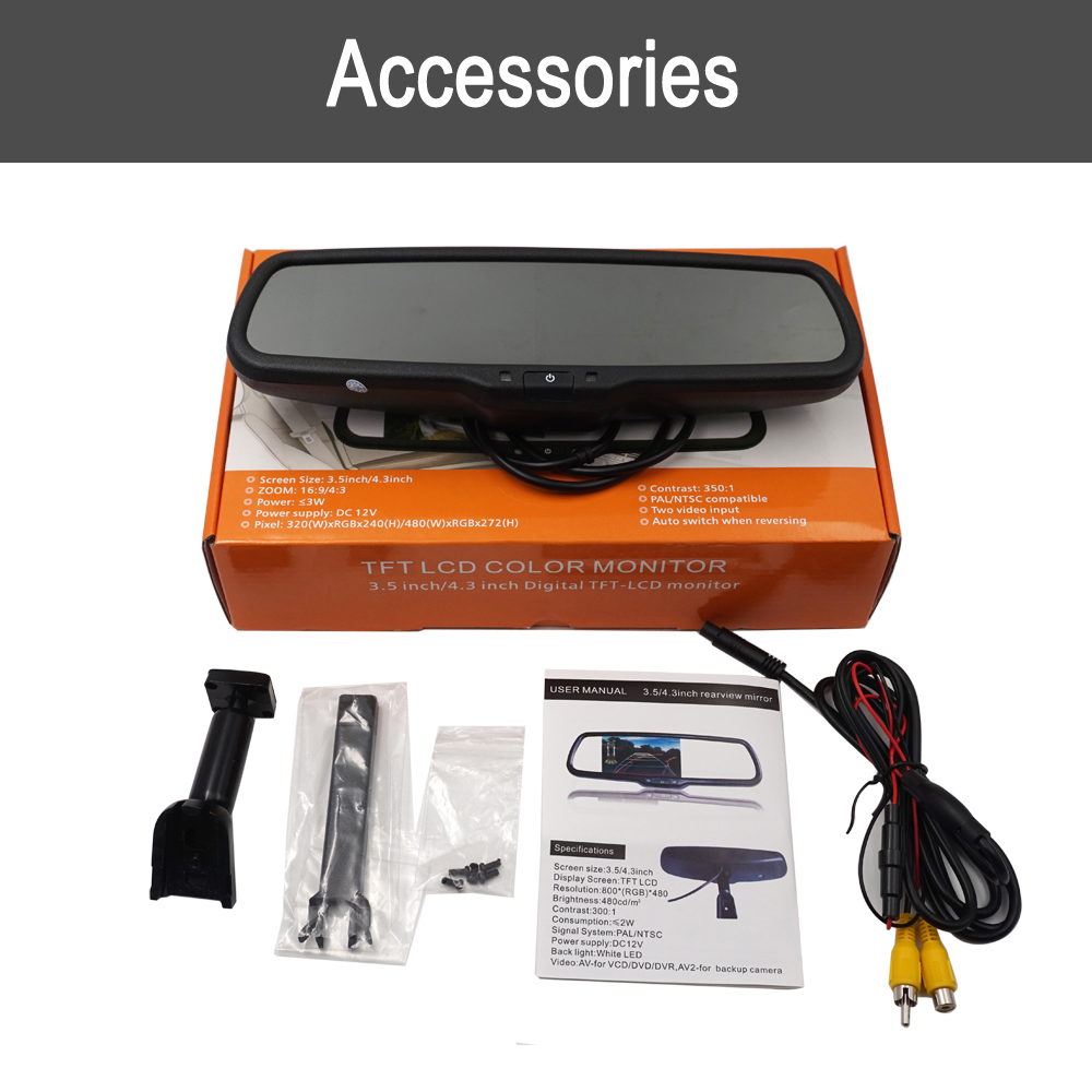Mirror screen Car rear view mirror mount camera monitor Bracket Auto Brighenss Change Dimming Front View Camera TFT LCD Monitor(China)