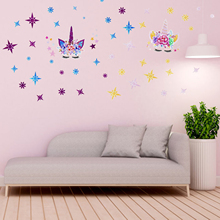 Cartoon 3D Unicorn Wall Sticker Wall Decals DIY Home Living Room Bedroom Birthday Festival Party Wallpaper Poster Art Decoration cute deer with quotes wall sticker for kids children bedroom decoration vinyl art design poster mural beauty wall decals ly1841