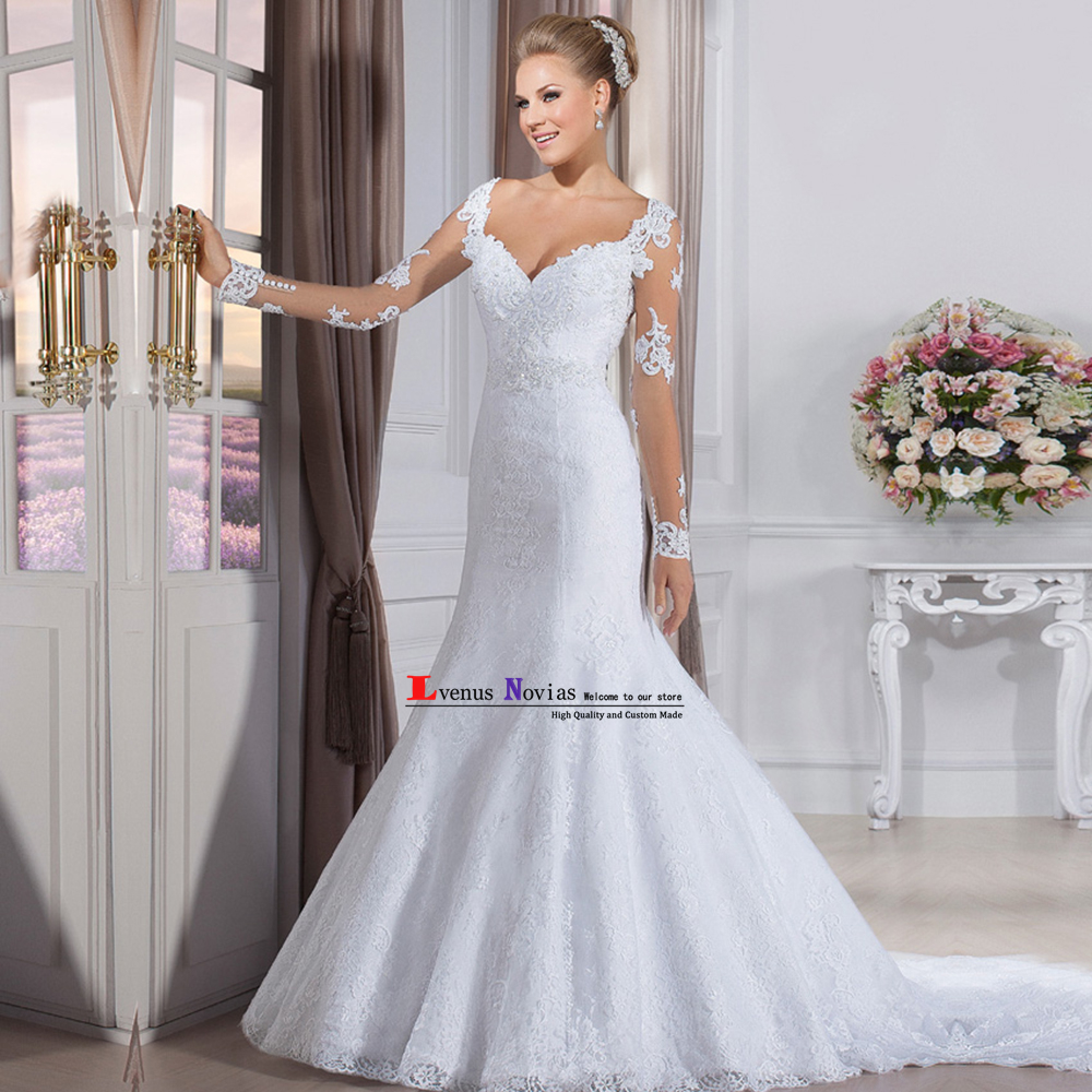 Sexy Vestido De Noiva Cheap Wedding Dress Lace Mermaid Wedding Gowns Elegant Long Sleeve Wedding Dresses