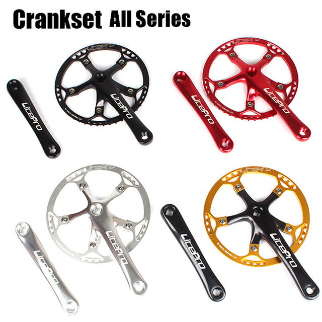 Bicycle Crankset Square Integrated Single Chainring Crankset Crank 45T 47T 53T 56T 58T BCD 130mm Folding Bike BMX Bicycle Parts